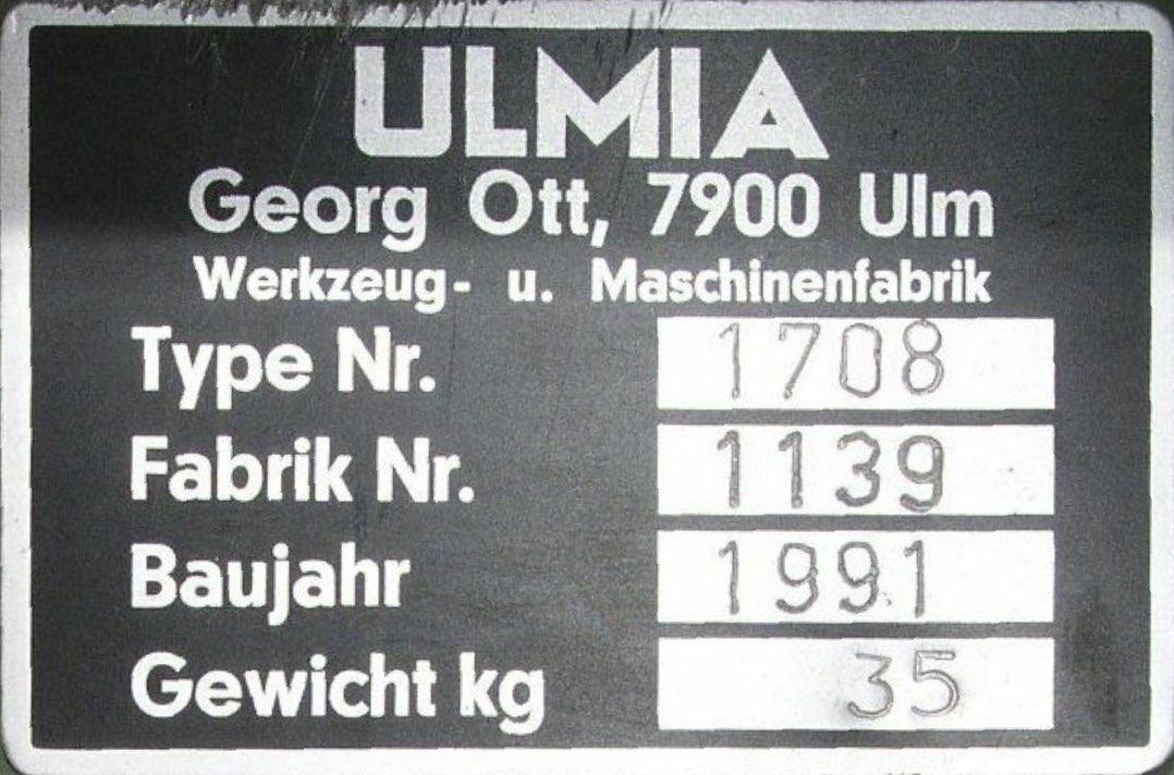 Typenschild Ulmia 1708