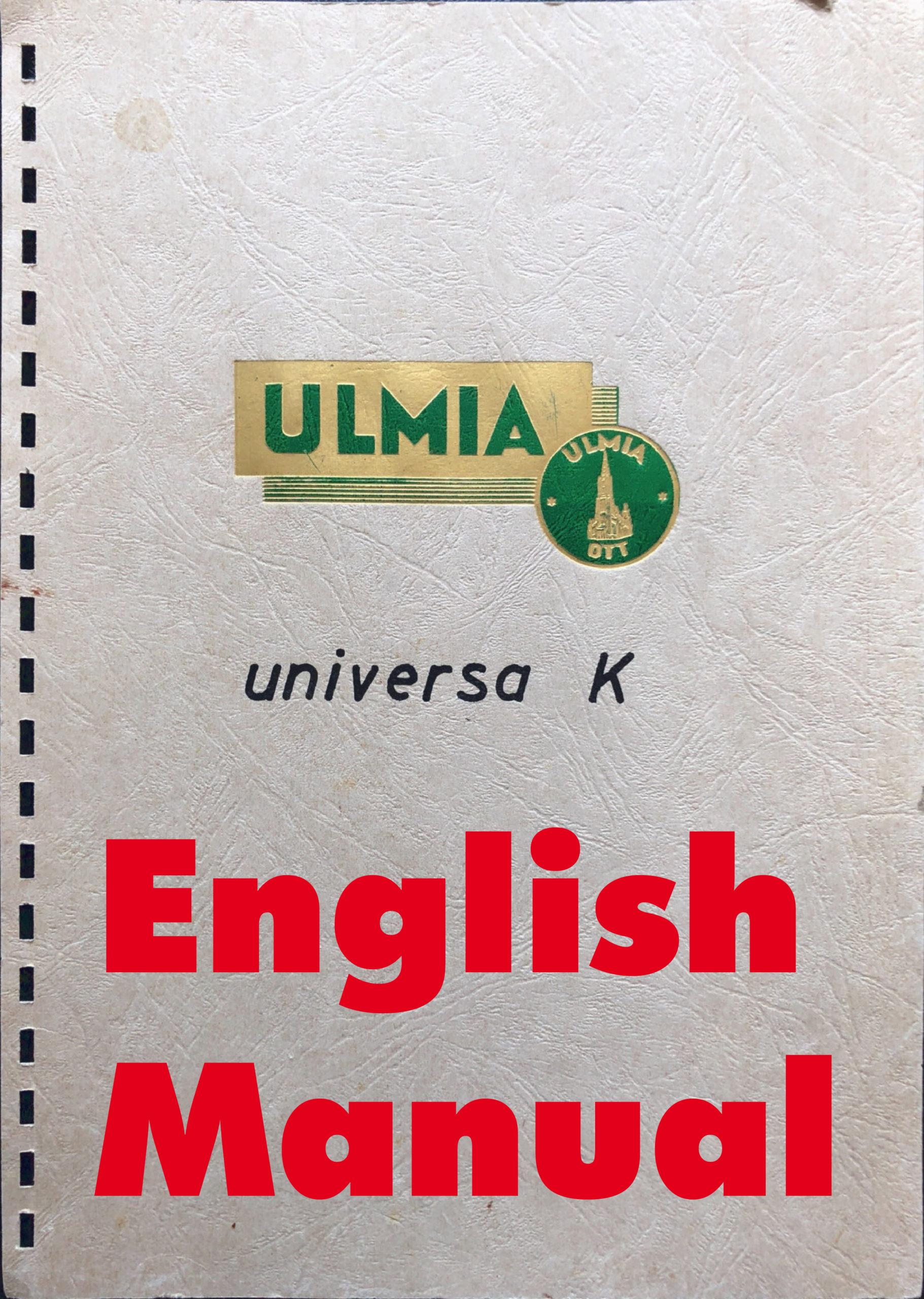 Universa-Bedienungsanleitung - English Manual
